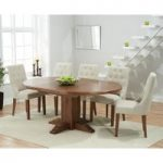 Torino Dark Solid Oak Extending Pedestal Dining Table with Pacific Fabric Dark Oak Leg Chairs