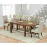 Chelsea Dark Oak Extending Dining Table with Anais Fabric Dark Oak Leg Chairs