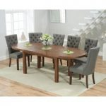 Chelsea Dark Oak Extending Dining Table with 8 Anais Fabric Dark Oak Leg Chairs
