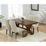 Bordeaux 165cm Dark Oak All Sides Extending Table with Pacific Fabric Dark Oak Leg Chairs