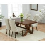 Bordeaux 165cm Dark Oak All Sides Extending Table with Anais Fabric Dark Oak Leg Chairs