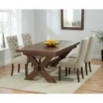 Bordeaux 200cm Dark Solid Oak Extending Dining Table with Anais Chairs