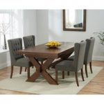 Bordeaux 160cm Dark Solid Oak Extending Dining Table with Safia Fabric Dark Oak Leg Chairs