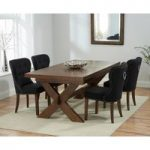 Bordeaux 160cm Dark Solid Oak Extending Dining Table with Knightsbridge Fabric Dark Oak Leg Chairs