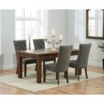 Rustique 150cm Dark Solid Oak Extending Dining Table with 8 Anais Fabric Dark Oak Leg Chairs