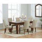 Rustique 180cm Dark Solid Oak Extending Dining Table with Pacific Fabric Dark Oak Leg Chairs
