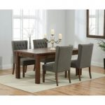 Rustique 150cm Dark Solid Oak Extending Dining Table with Safia Fabric Dark Oak Leg Chairs