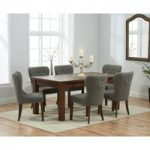 Rustique 180cm Dark Solid Oak Extending Dining Table with Grey Knightsbridge Fabric Dark Oak Leg Chairs