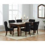 Rustique 180cm Dark Solid Oak Extending Dining Table with Knightsbridge Fabric Dark Oak Leg Chairs