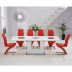 Tula 160cm White High Gloss Extending Dining Table with Red Hampstead Z Chairs