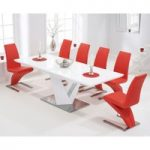 Harmony 160cm White High Gloss Extending Dining Table with Red Hampstead Z Chairs