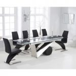 Pretoria 170cm Extending Black Glass Dining Table with Hampstead Z Chairs