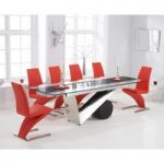 Pretoria 170cm Extending Black Glass Dining Table with Red Hampstead Z Chairs