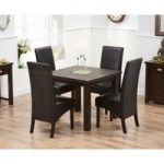 Somerset 90cm Flip Top Dark Oak Dining Table with Brown Dakota Chairs