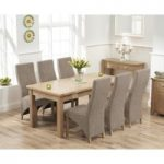 Somerset 180cm Oak Extending Dining Table with Henley Fabric Chairs