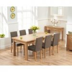 Somerset 180cm Oak Extending Dining Table with Brown Mia Fabric Chairs