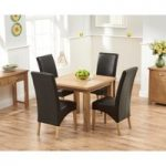 Somerset 90cm Flip Top Oak Dining Table with Brown Cannes Chairs