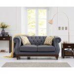 Henbury Chesterfield Grey Leather 2 Seater Sofa
