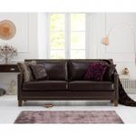 Aston Brown Leather 3 Seater Sofa