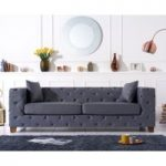 Harrison Chesterfield Grey Leather Three-Seater Sofa