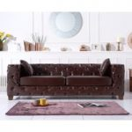 Harrison Chesterfield Brown Leather Three-Seater Sofa