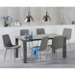 Atlanta 160cm Dark Grey High Gloss Dining Table with Hamburg Fabric Chrome Leg Chairs