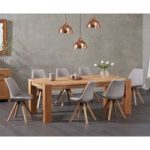Madrid 200cm Oak Dining Table with Ophelia Fabric Square Leg Chairs
