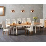 Somerset 180cm Oak and Cream Extending Dining Table with Jasper Cream Fabric Chairs