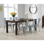 Verona 150cm Dark Solid Oak Dining Table with Tolix Industrial Style Dining Chairs