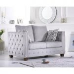 Amelia Grey Plush Fabric Two-Seater Sofa