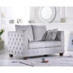 Amelia Grey Plush Fabric Two-Seater Sofa