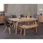Agata 160cm Oak Dining Table with Ophelia Faux Leather Square Leg Chairs and Agata Benches