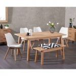 Agata 160cm Oak Dining Table with Demi Faux Leather Chairs and Agata Benches