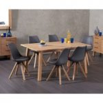 Agata 160cm Oak Dining Table with Ophelia Faux Leather Square Leg Chairs