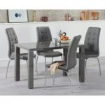 Atlanta 120cm Dark Grey High Gloss Dining Table with Calgary Chairs