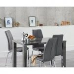 Atlanta 120cm Dark Grey High Gloss Dining Table with Cavello Chairs
