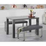 Atlanta 120cm Dark Grey High Gloss Dining Table with Atlanta Grey Benches