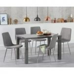 Atlanta 120cm Dark Grey High Gloss Dining Table with Hamburg Fabric Chairs