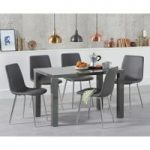 Atlanta 120cm Dark Grey High Gloss Dining Table with Hamburg Faux Leather Chairs