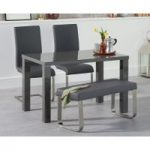 Atlanta 120cm Dark Grey High Gloss Dining Table with Malaga Chairs and Atlanta Grey Bench