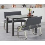 Atlanta 120cm Dark Grey High Gloss Dining Table with Malaga Grey Benches