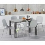 Atlanta 120cm Dark Grey High Gloss Dining Table with Nordic Chrome Leg Chairs