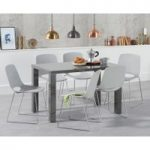 Atlanta 120cm Dark Grey High Gloss Dining Table with Nordic Chrome Sled Leg Chairs