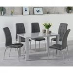 Atlanta 120cm Light Grey Gloss Dining Table with Calgary Chairs