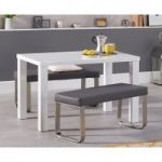 Atlanta 120cm White High Gloss Dining Table with Atlanta Grey Benches