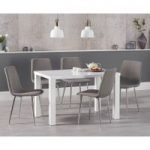 Atlanta 120cm White High Gloss Dining Table with Hamburg Fabric Chrome Chairs