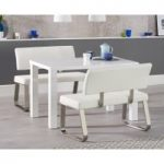 Atlanta 120cm White High Gloss Dining Table with Malaga White Benches