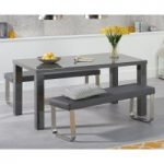 Atlanta 160cm Dark Grey High Gloss Dining Table with Atlanta Benches
