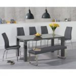 Atlanta 160cm Dark Grey High Gloss Dining Table with Cavello Chairs and Atlanta Grey Bench