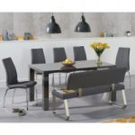 Atlanta 160cm Dark Grey High Gloss Dining Table with Cavello Chairs and Malaga Grey Bench